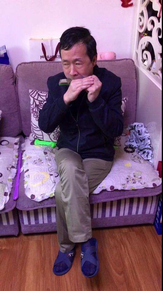 56岁盲人苏金保吹口琴